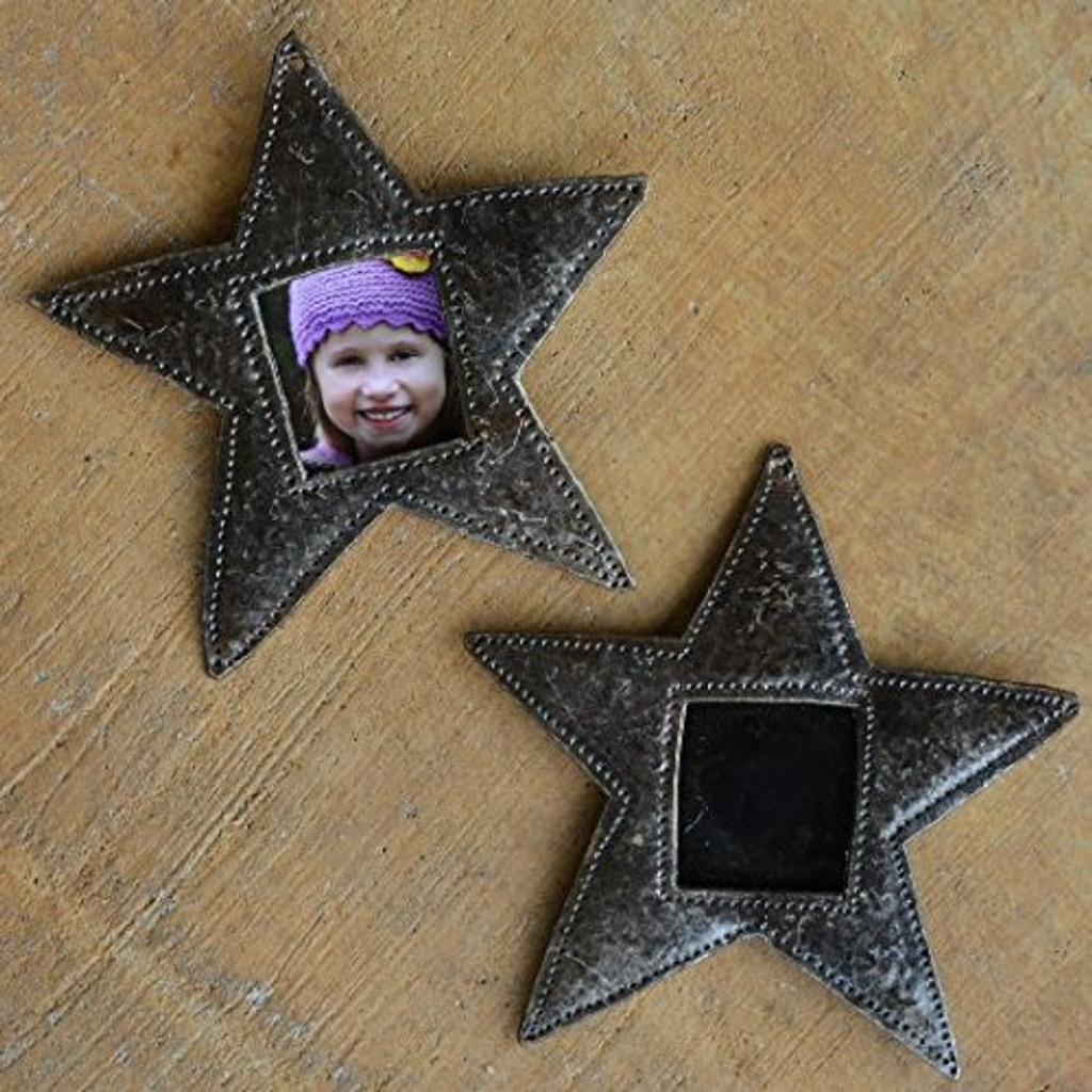 """Star Ornament, Place Setting, Frame, Hang Tag, Recycled Metal Art from Haiti, 4 1/2"""" x 4 1/2"""" (sold in sets of 2)"""