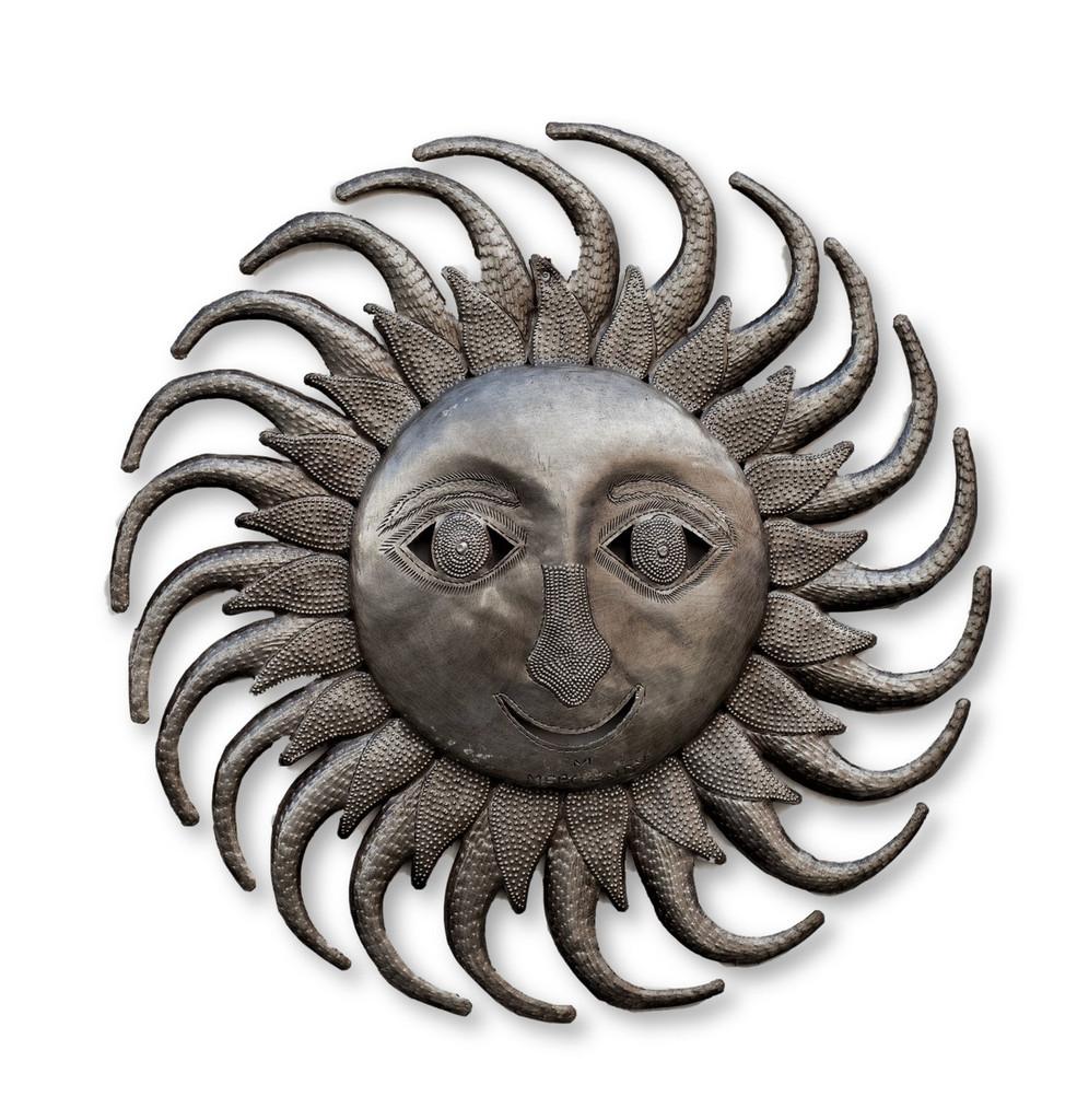 "Sun with Swirl Rays, Metal Wall Art, Decorative Home Decor, Handmade in Haiti, 17.5"" Round"