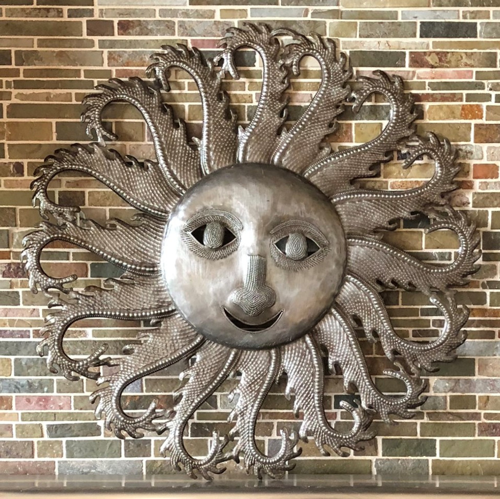 kitchen sun, wall decor, recycled Haitian metal art