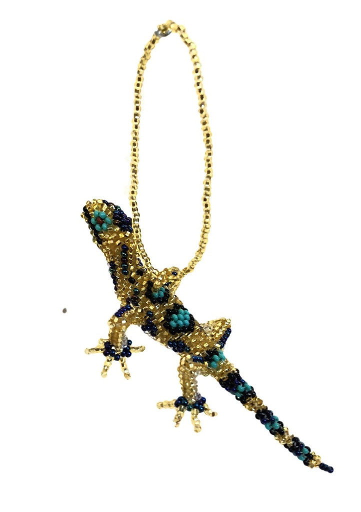 Gecko, Beaded Lizzard, Small Hanging Animals, Novelty Figurines, Assorted Colors, Handmade in Guatemala