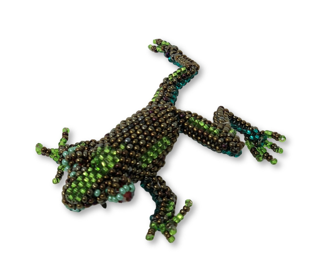 Frog, Beaded, with pin attached, Handmade in Guatemala, Jewelry accessory, Teacher gift