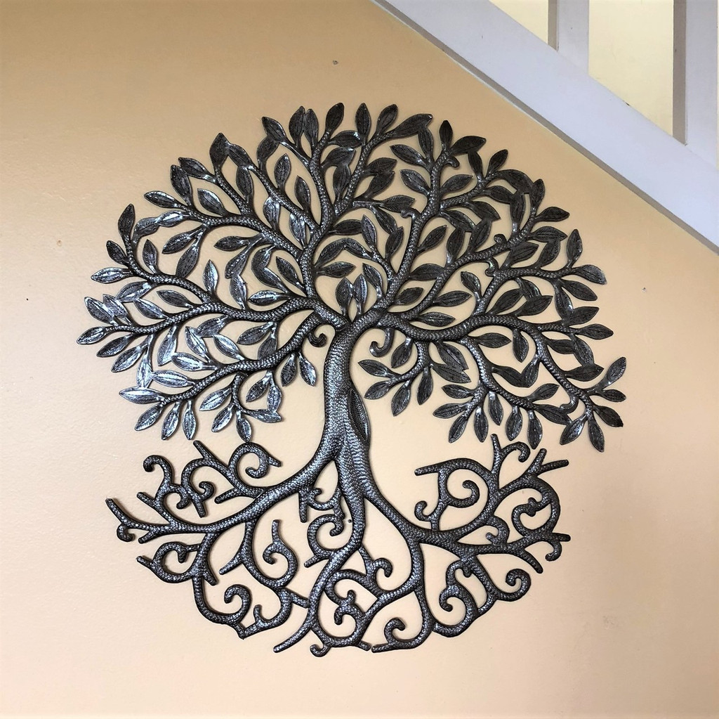 fair trade metal farmhouse wall decor, tree of life