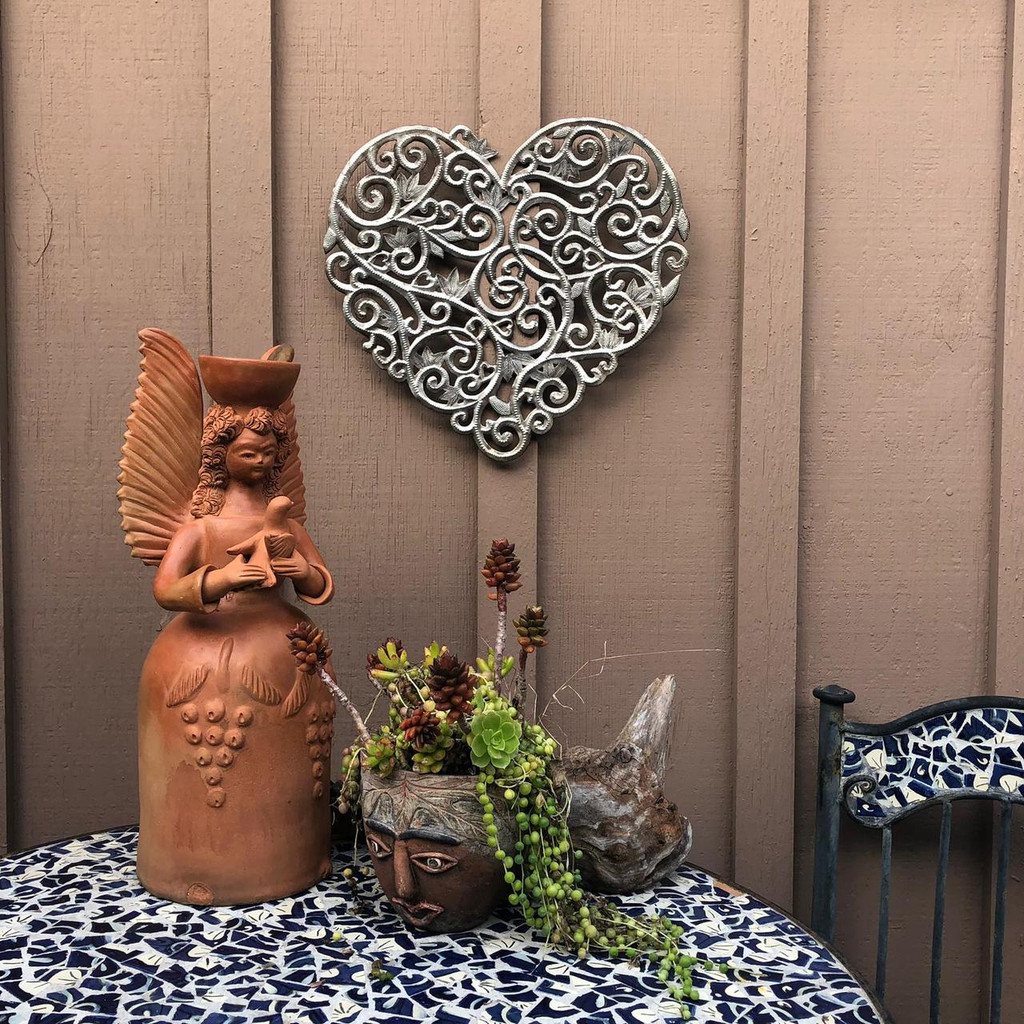 "Heart Floral Metal Wall Art, Indoor and Outdoor Garden Decor, 15"" x 16"""