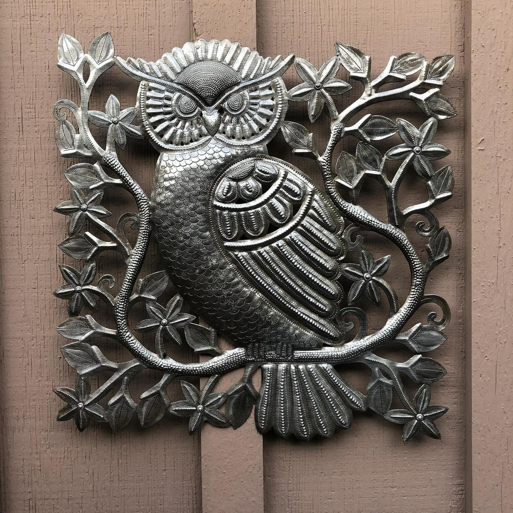 """Small Garden Owl, Metal Indoor and Outdoor Wall Collection, Handmade in Haiti from Recycled Oil Drums, 17"""" x 17"""""""