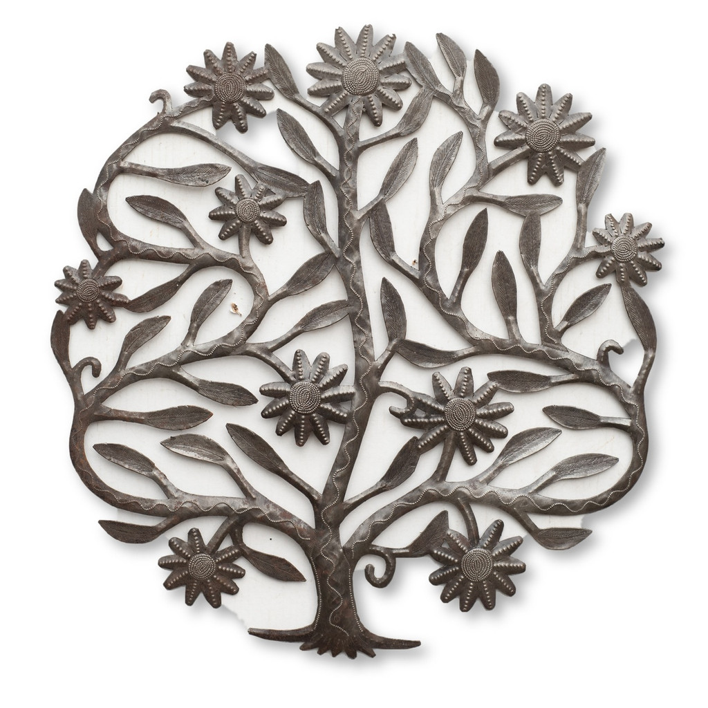 Tree of Life, Flowers, Floral Art, One-of-a-Kind, Limited Edition, Sustainable, Eco-Friendly, Recycle, Recyclable, Spring, Summer, Garden Decor, Home Decor, Interior Design, Rustic, Farmhouse, Housewarming Gift, Handcrafted, Handmade, Haitian Art, Haiti, Help Haiti, Fight Poverty, Fair Trade