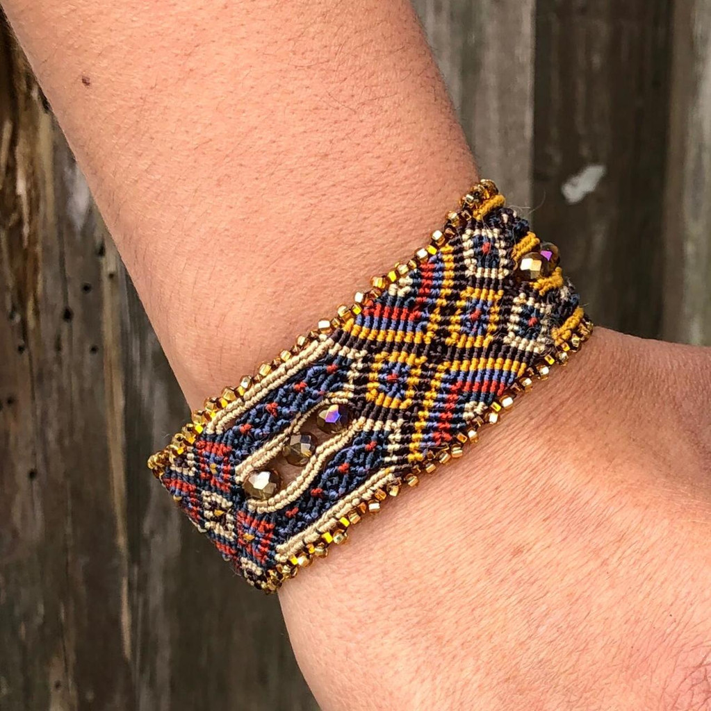 "Handmade Bracelet, Mustard Brown, Blue, and red Tones, Beaded, Magnetic Closure, Friendship, Shabby Chic, Boho Look, Gift, Women Fashion, Handmade in Guatemala 1"" x 6.75"""