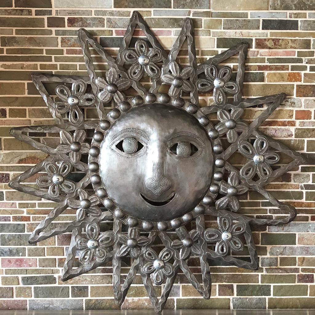 Farmhouse decor, metal recycled Haitian Sun