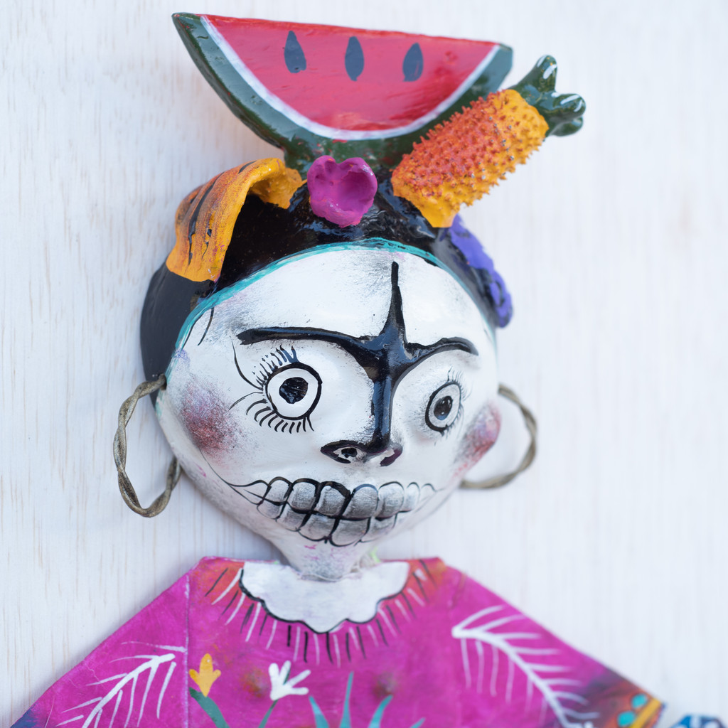 Coconut Doll with Watermelon Head from Mexico, One-of-a-Kind Art 17x9.5