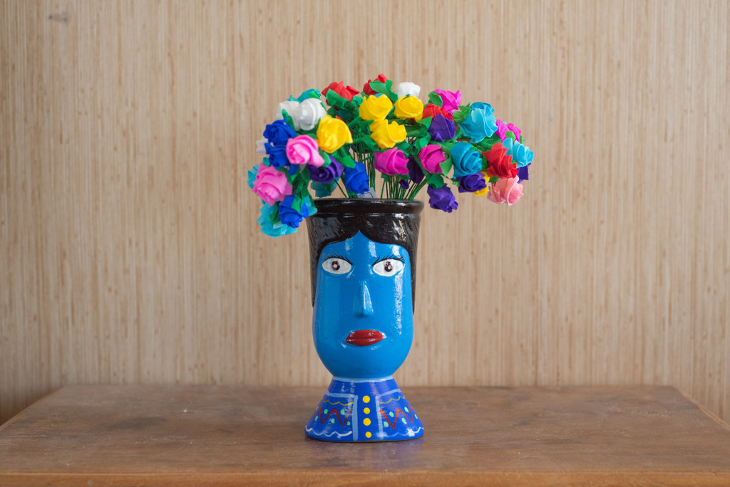 Guatemalan Hand Painted Blue Vase with Colorful Huipil, Whimsical Decor 6x3.5