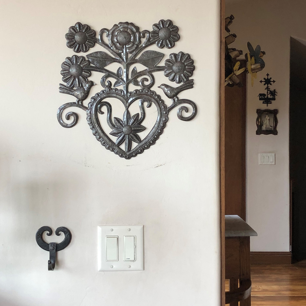 Heart Birds and Flowers metal Wall Art