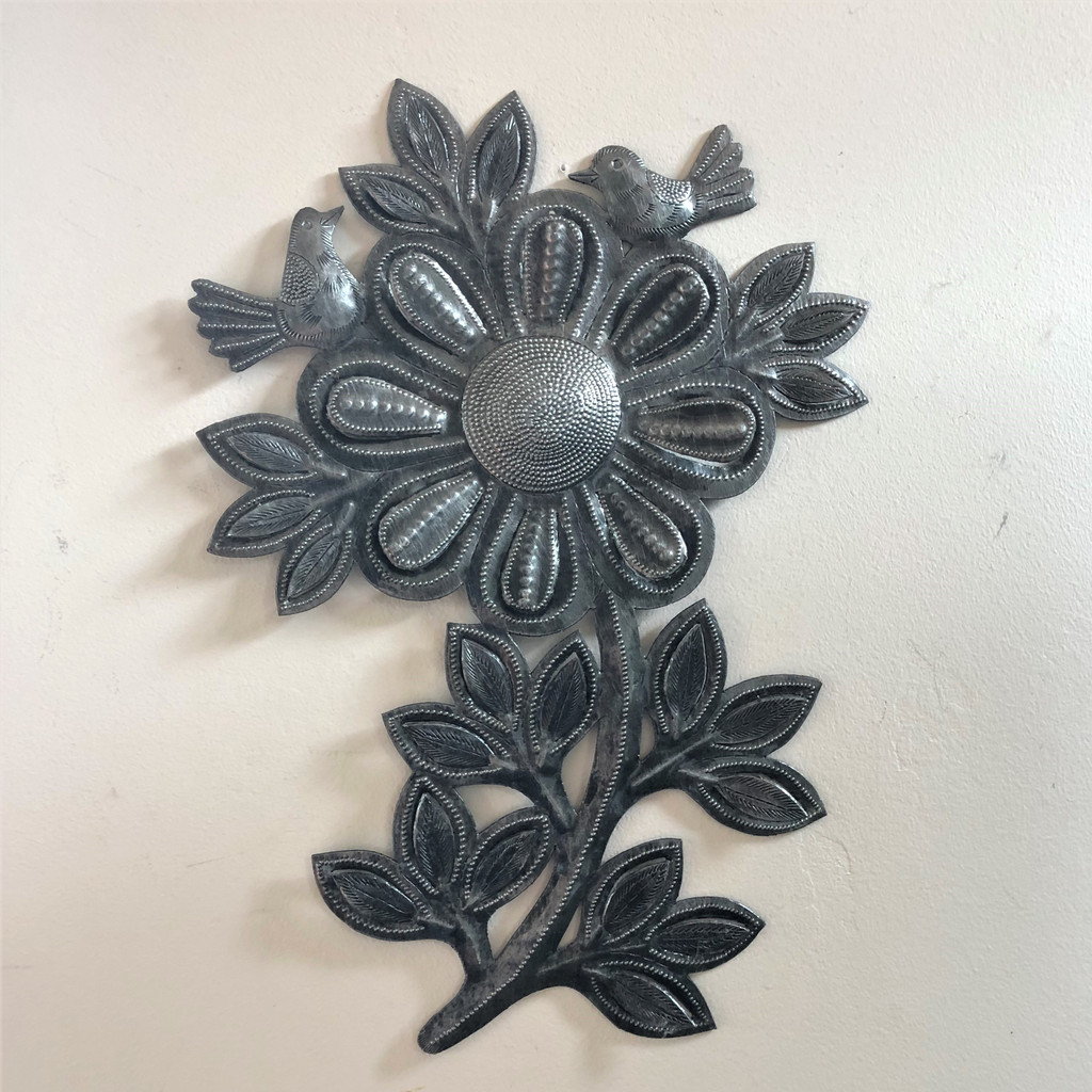 indoor outdoor metal wall art sunflower and birds