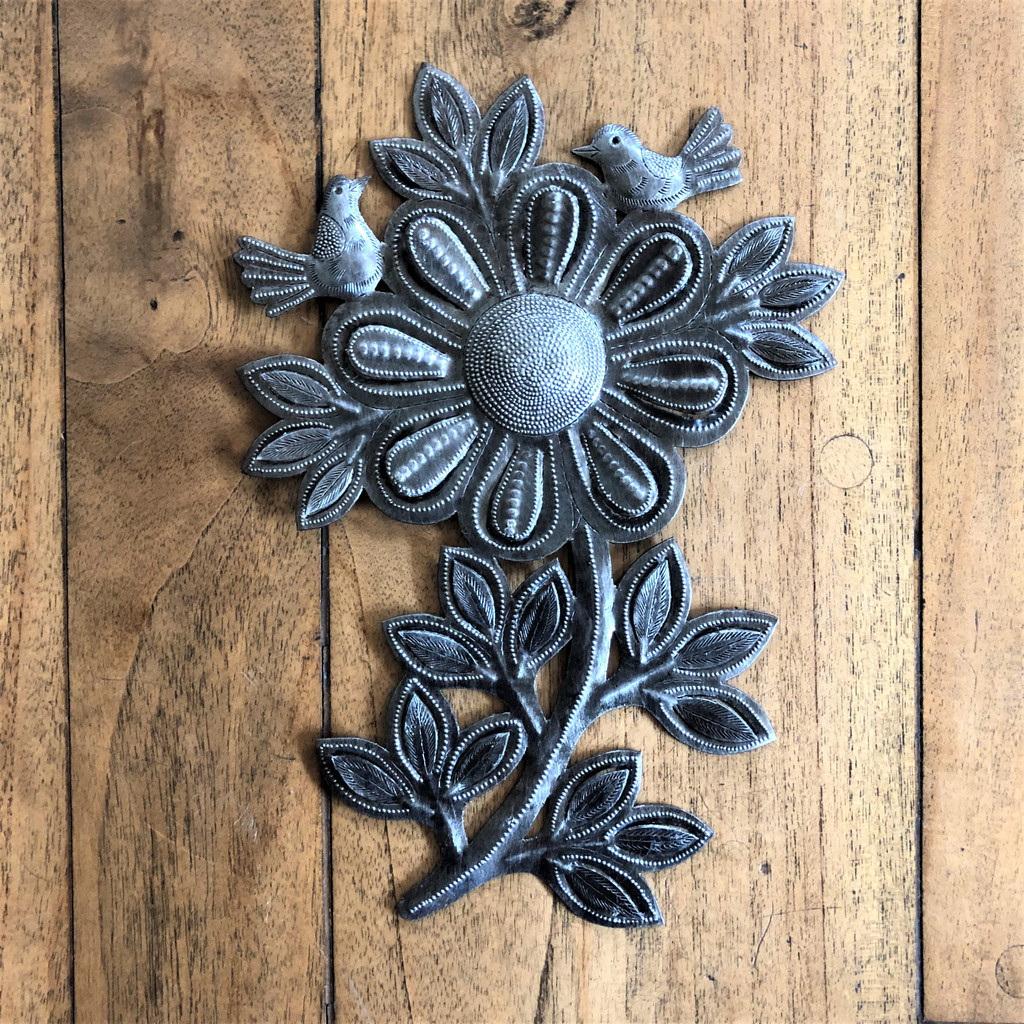 "Garden Sunflower, Recycled Metal Art, Handcrafted in Haiti  10"" x 13"""