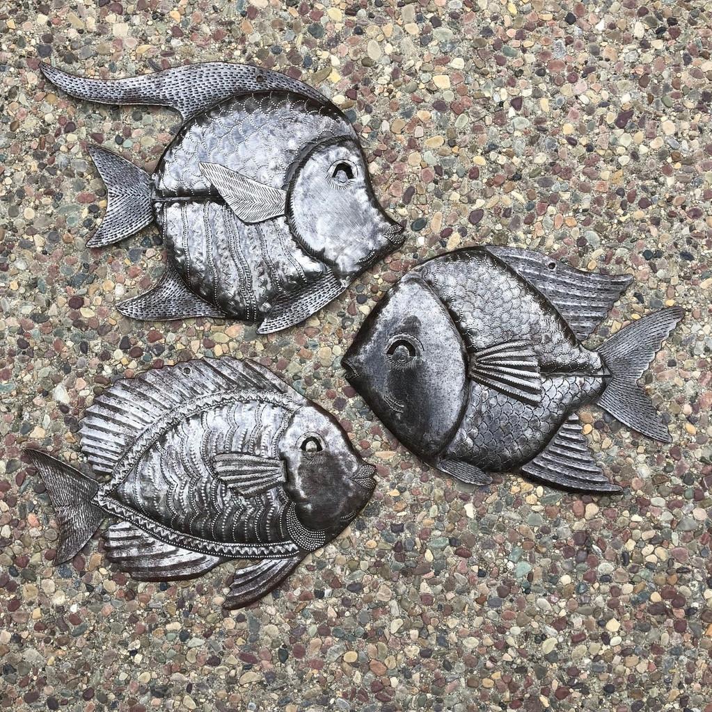 Angel fish , school of fish metal wall art , bathroom pool side metal art Haiti