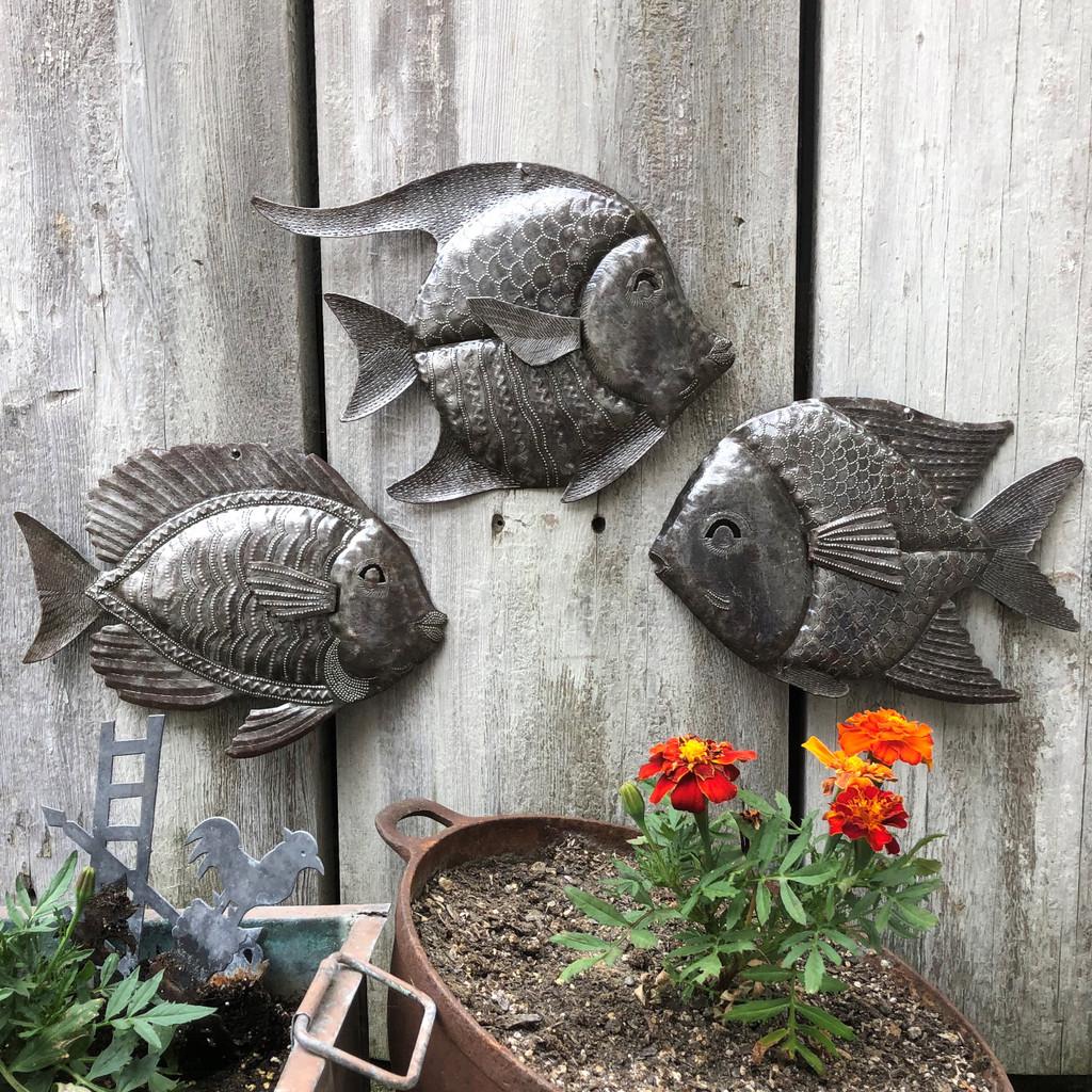 Hand made Angel fish , Tropical fish wall art, Haiti Metal art, Recycled Fair Trade