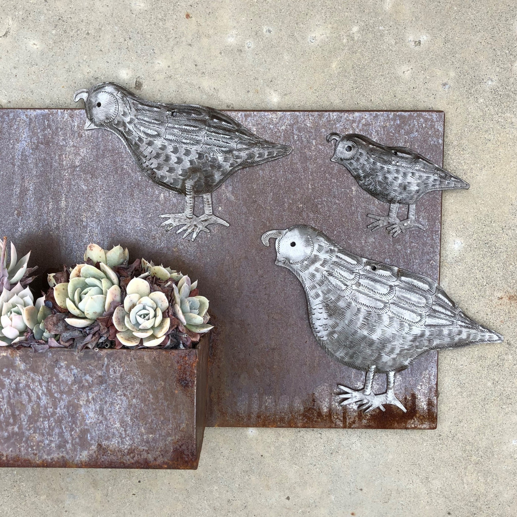 "Metal Quail Facing Left, Handmade in Haiti, (Set of 3) Garden Wall Art 10.5"" x 7"", 8"" x 6"" and 5.5"" x 4"""