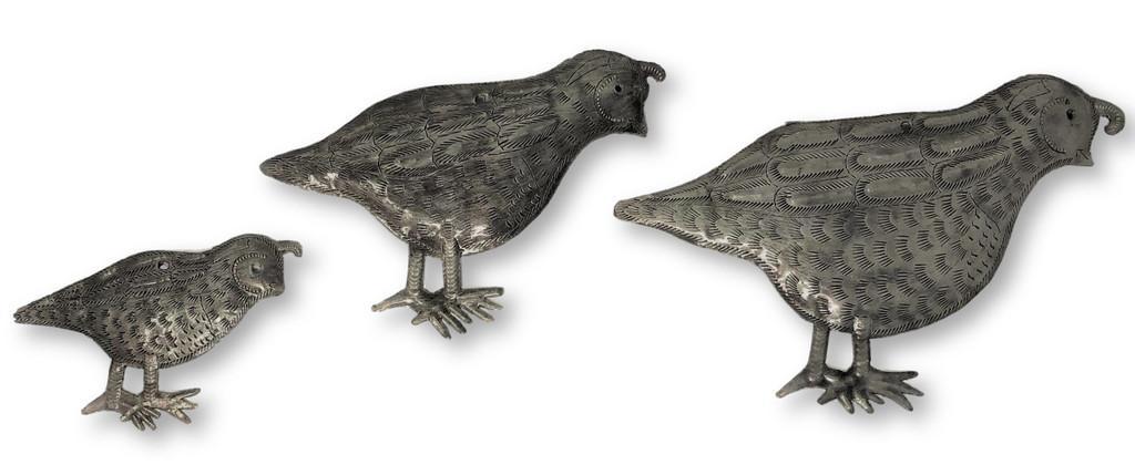 Haitian metal quail wall art