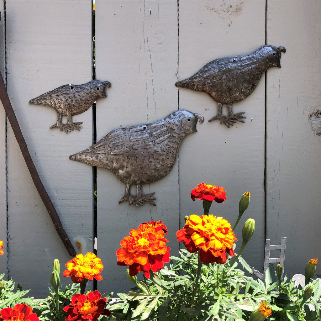 "Metal Quail Covey Facing Right, Handmade in Haiti, (Set of 3) Garden Wall Art 10.5"" x 7"", 8"" x 6"" and 5.5"" x 4"""