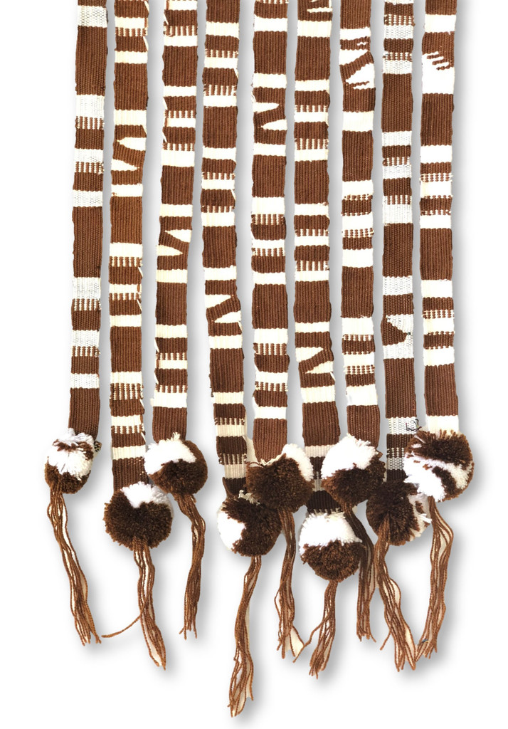 Brown and White, Spirit Wear, Apparel, Hair Tie, Cotton Belt, Hand Woven, Fair Trade, Set of 3 Traditional Guatemalan Handmade Hatband, Wrap Around Self Tie 3/4 x 42 Inches