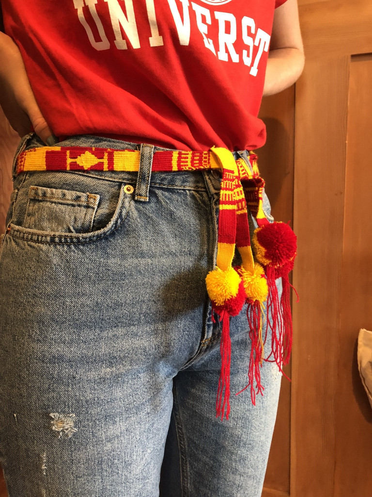 belt, sash. red and gold spirit wear, college colors, school and team pride