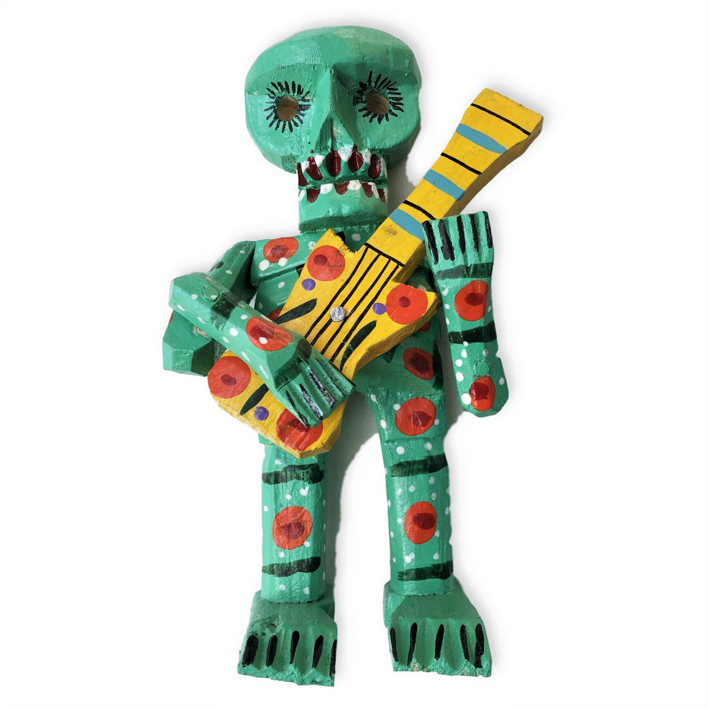 HAND CARVED ZOMBIE WOODEN SKELETON