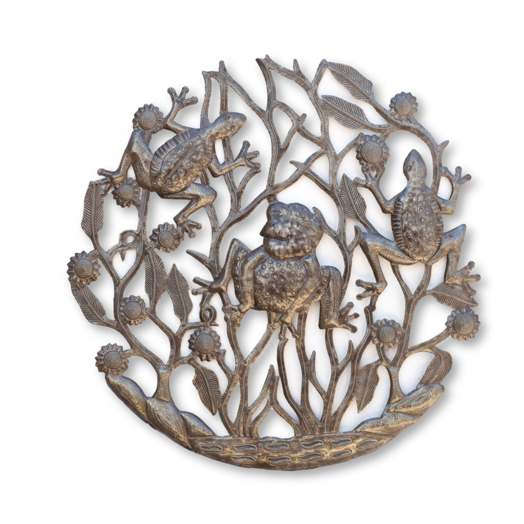 Frogs, Jumping, Pond, Water, Lake, Home Decor, Garden Decor, Limited Edition Art, One-of-a-Kind Sculpture, Metal, Steel, Farmhouse, Recycle, Recyclable, Haitian Art, Fair Trade, It's Cactus