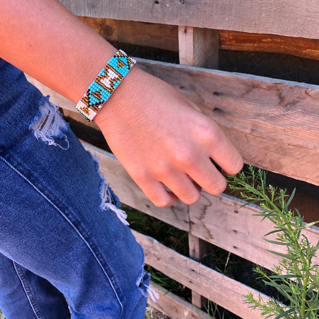 Handmade Bracelet, Glass beads, Beaded, Turquoise, White, Gold, and Black, Variety Designs, Leather, Shabby Chic, Boho Look, Aztec Tribal, Handmade in Guatemala