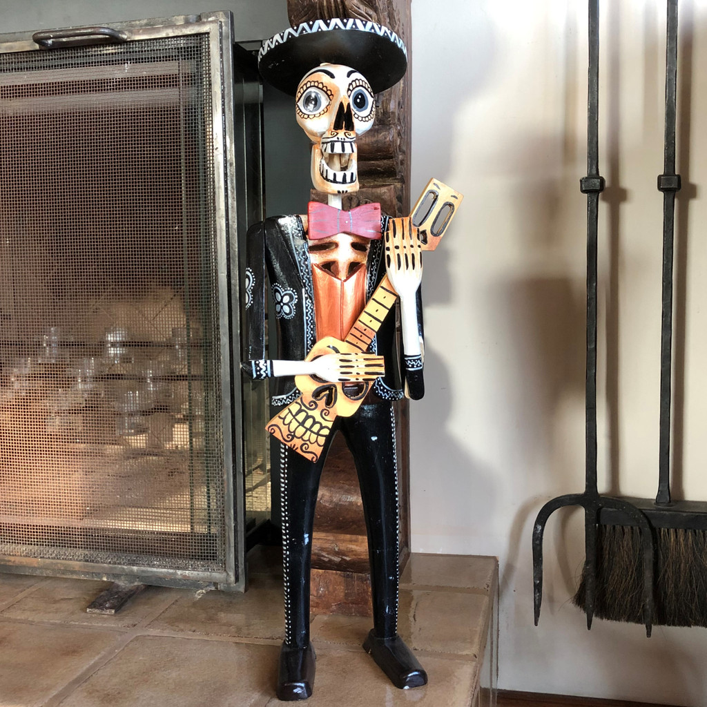 "Hand Carved Skeleton, Day of the Dead, Dia De Los Muertos, Mariachi, Guatemala, 26"" x 8.5"" x 6"""