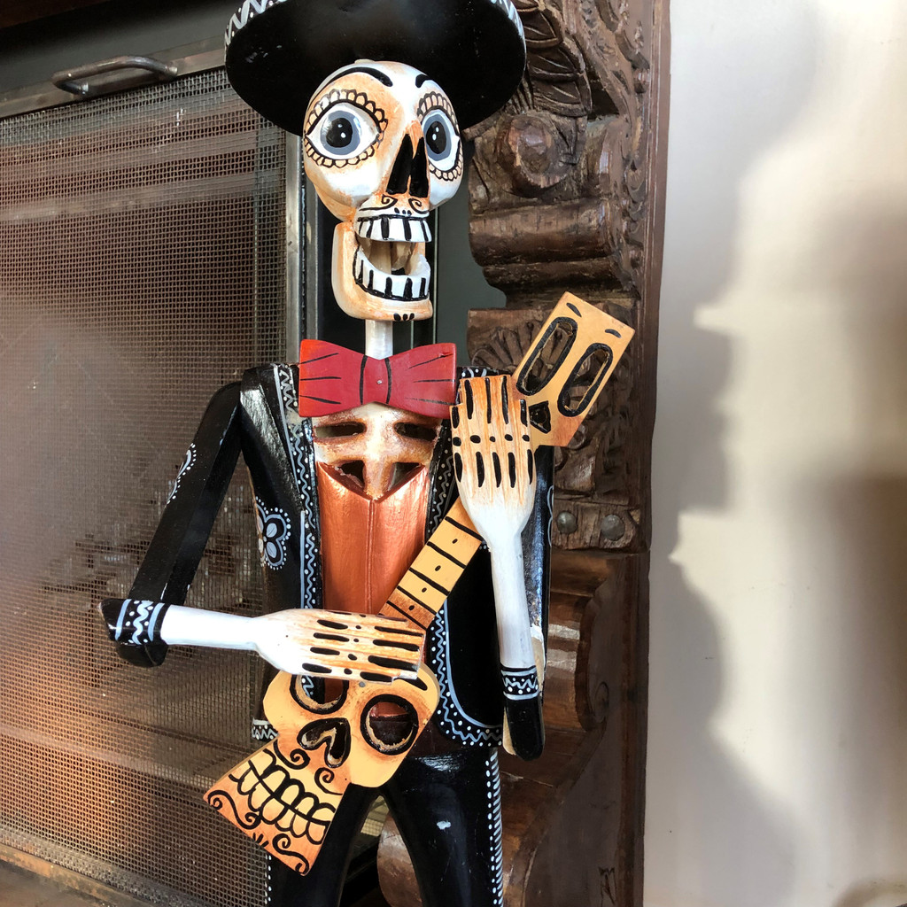 "Detail Hand Carved Skeleton, Day of the Dead, Dia De Los Muertos, Mariachi, Guatemala, 26"" x 8.5"" x 6"""
