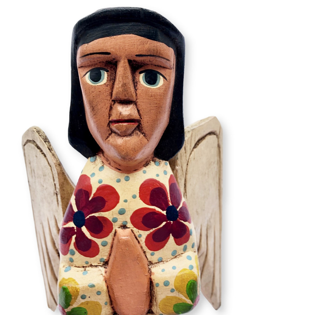 hand carved Guatemala Nativity , angel