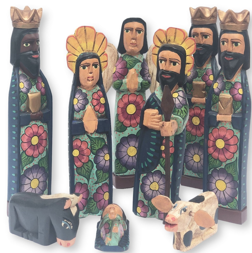 hand carved Guatemala Nativity , earth tones