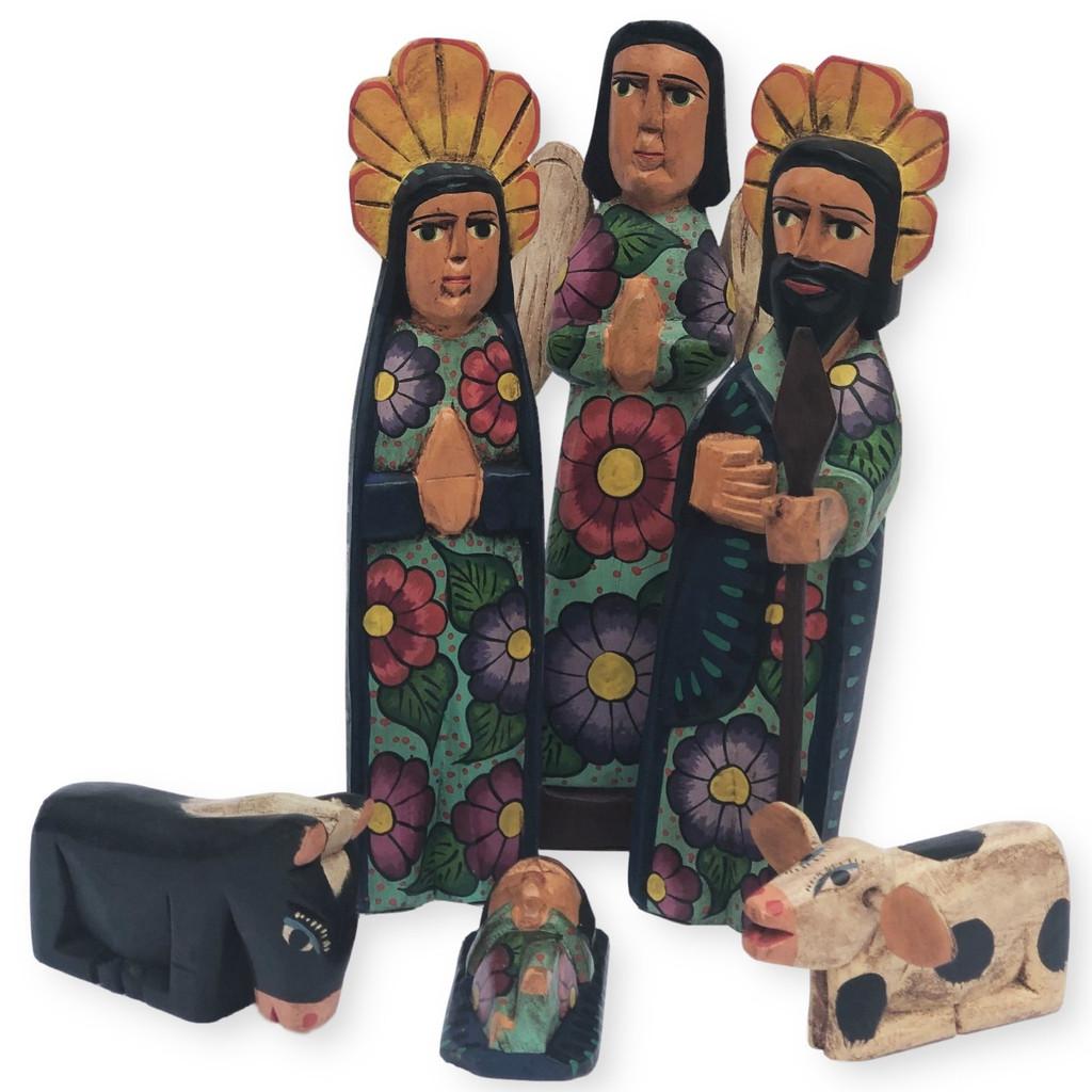 hand carved Guatemala Nativity , holy family