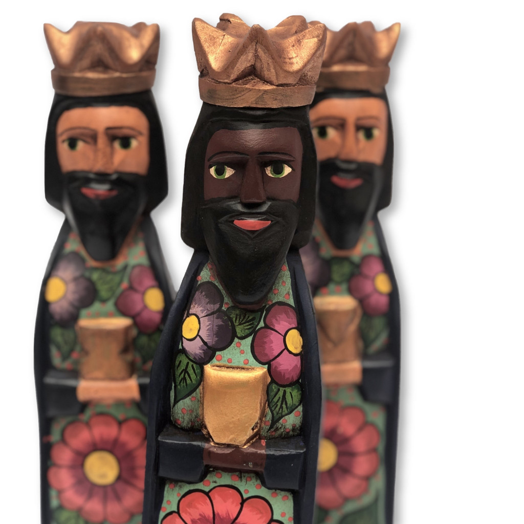 hand carved Guatemala Nativity , three kings