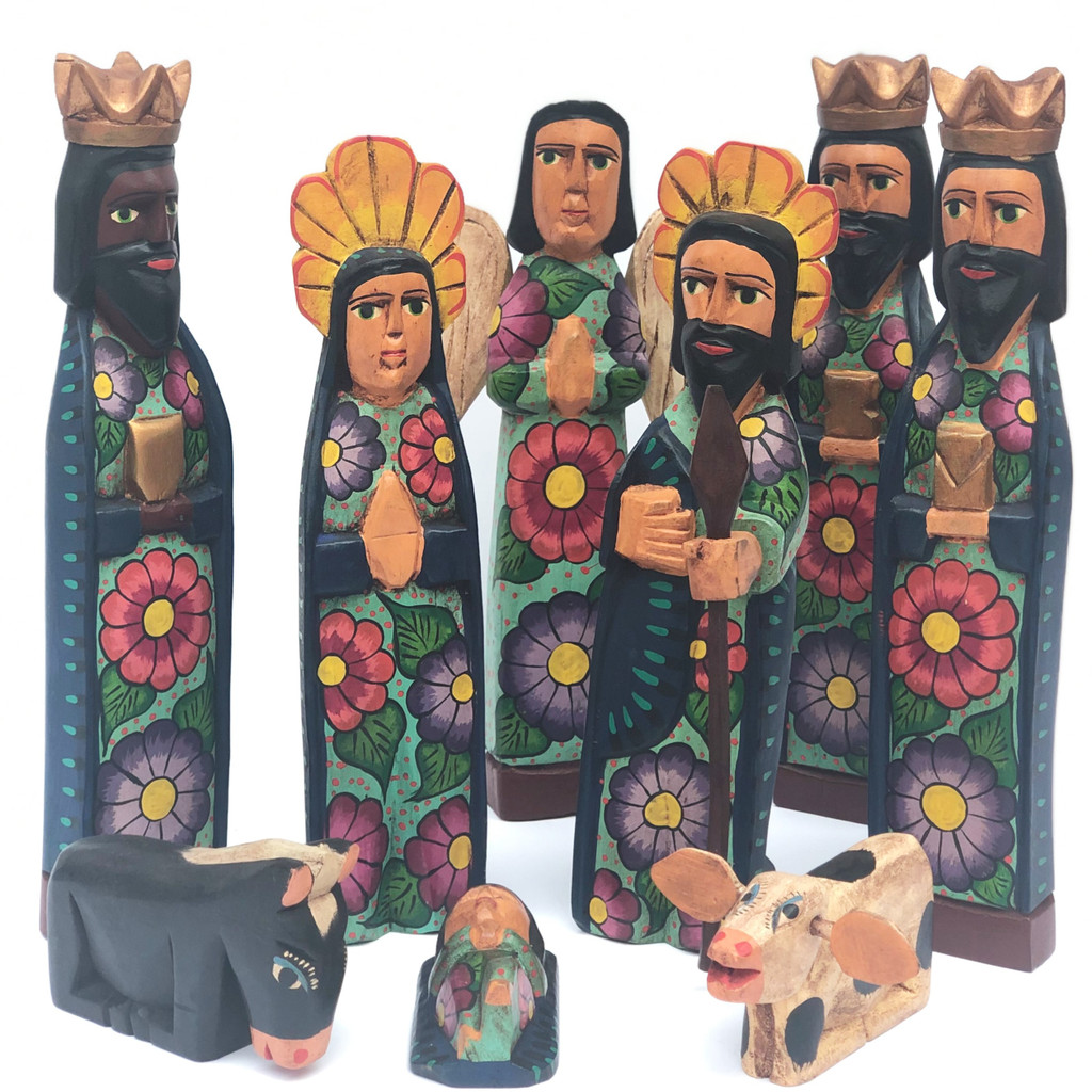 hand carved Guatemala Nativity , holy family,  Creche