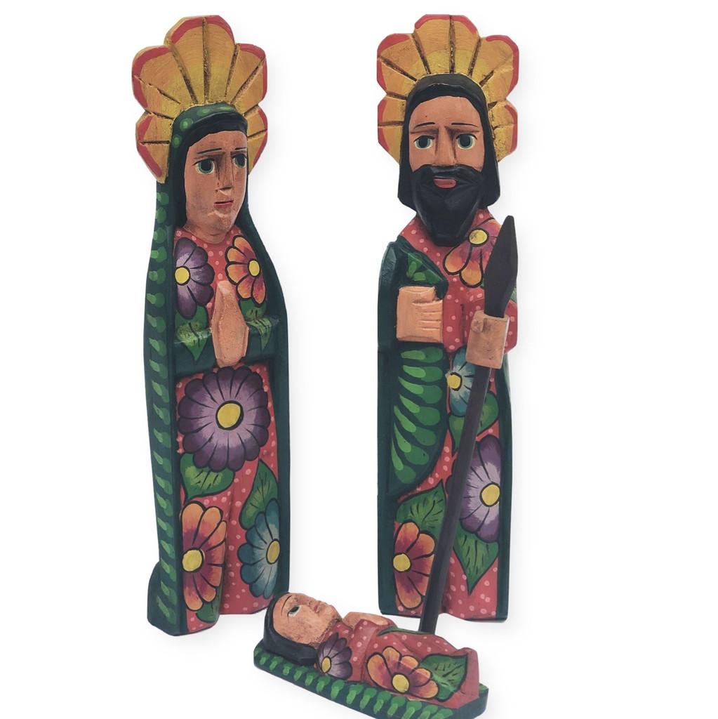 hand carved Guatemala Nativity . holy family