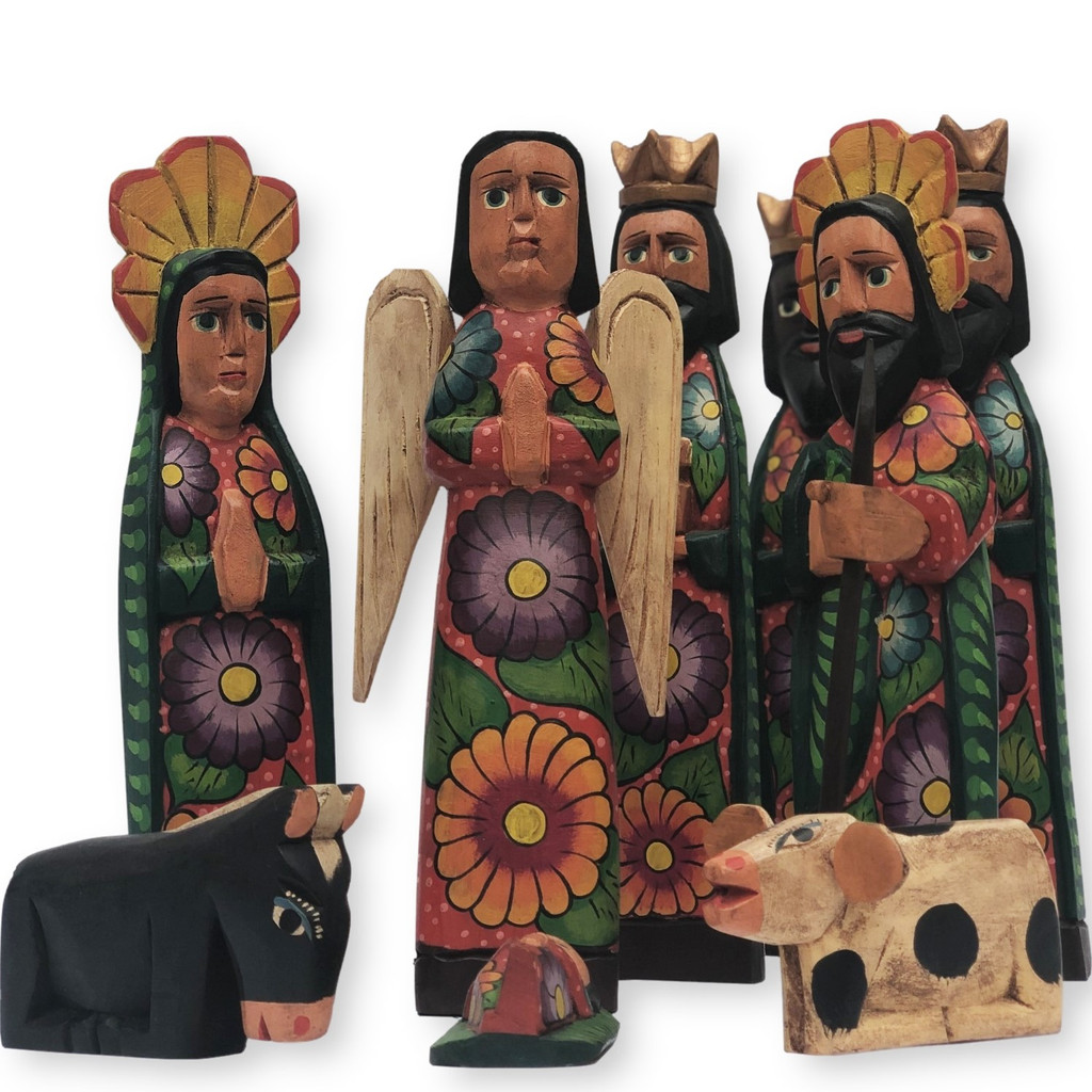 Hand Carved Nativity Scene, Guatemalan Colorful, Red Tones,  Set by Artist Rodrigo Canil