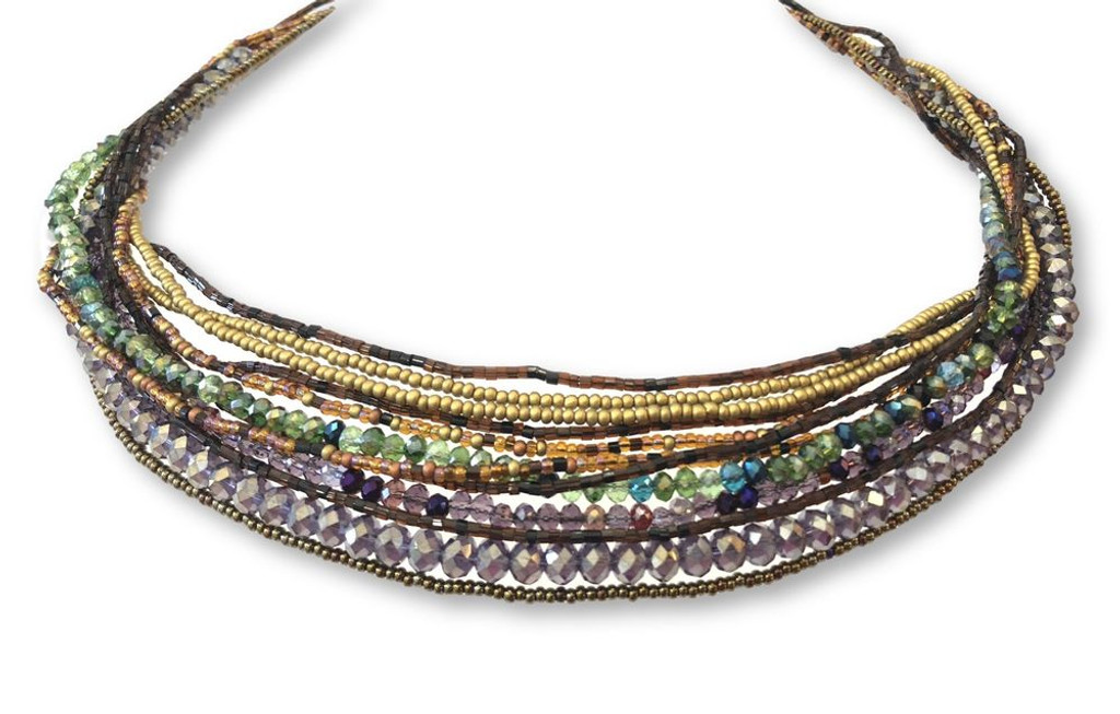 purple and brown necklace