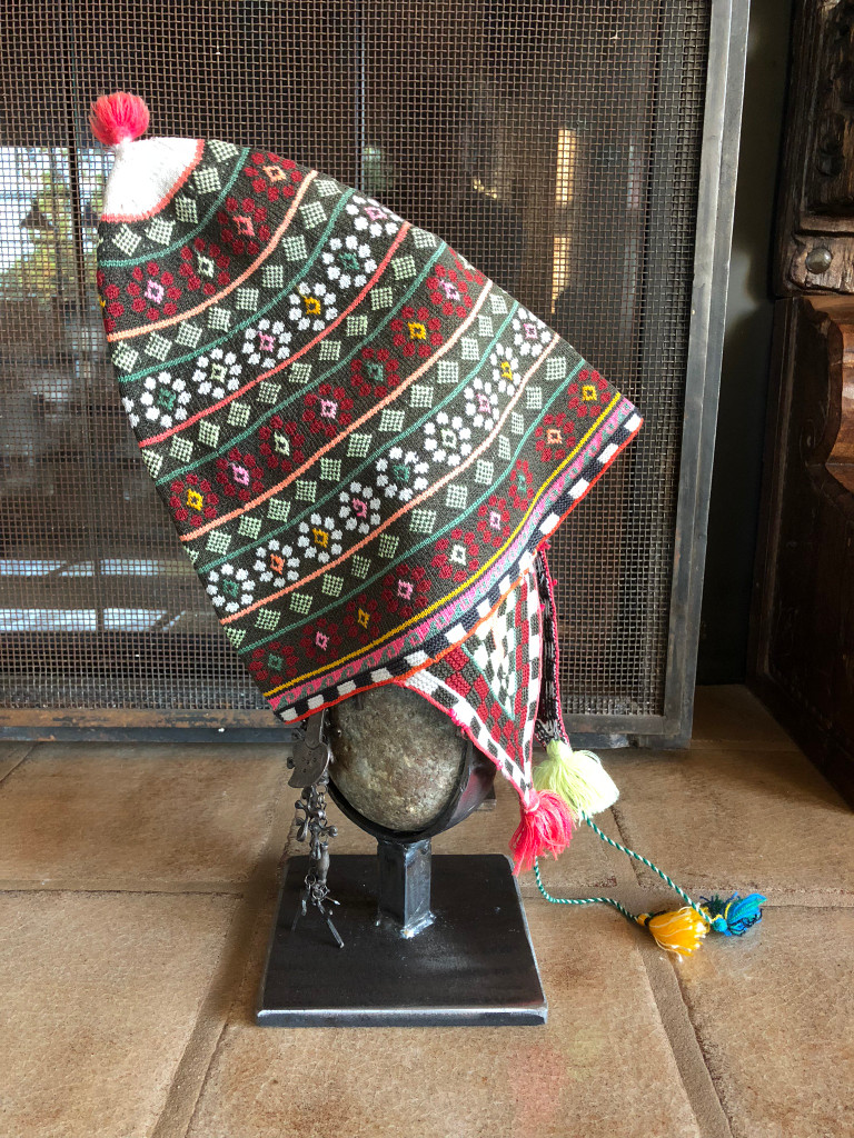 This vintage Andean Peruvian Bolivian ch'ullo colorful alpaca wool knit ear-flap folk hat dates
