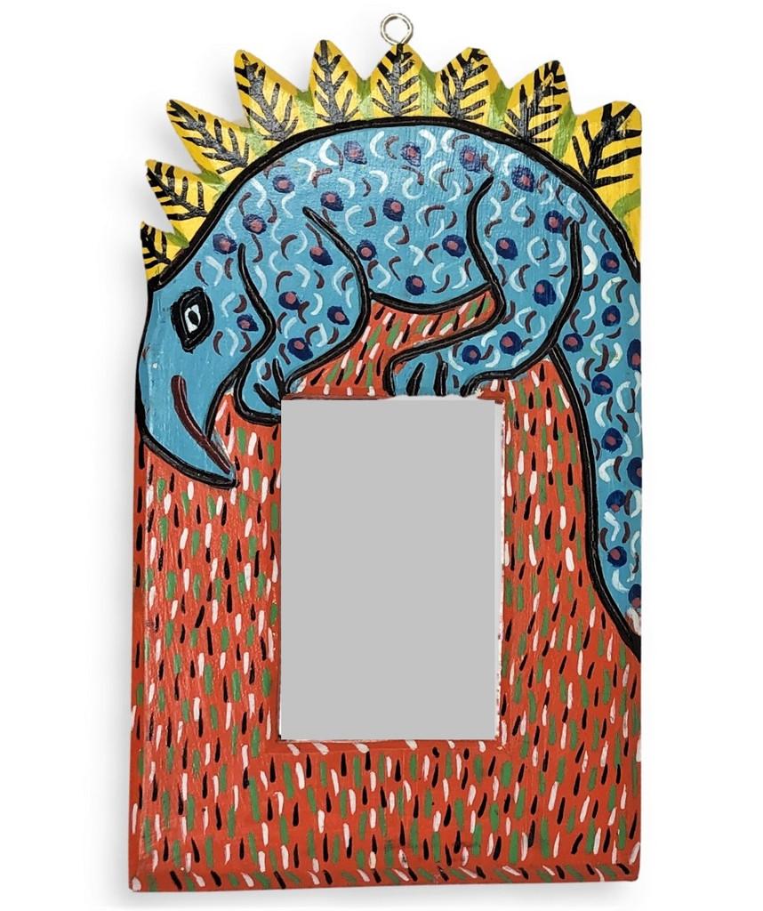hand carved wooden mirror Iguana