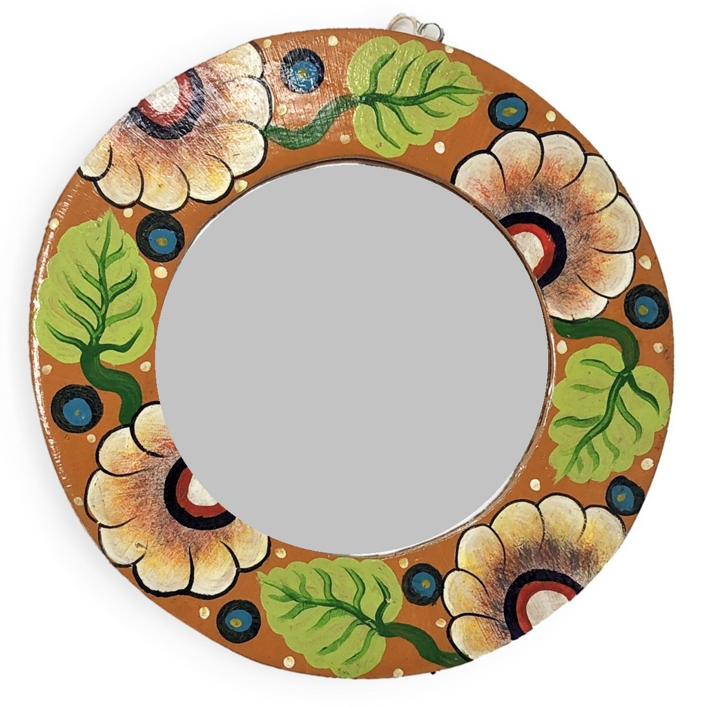 hand carved wooden floral mirror