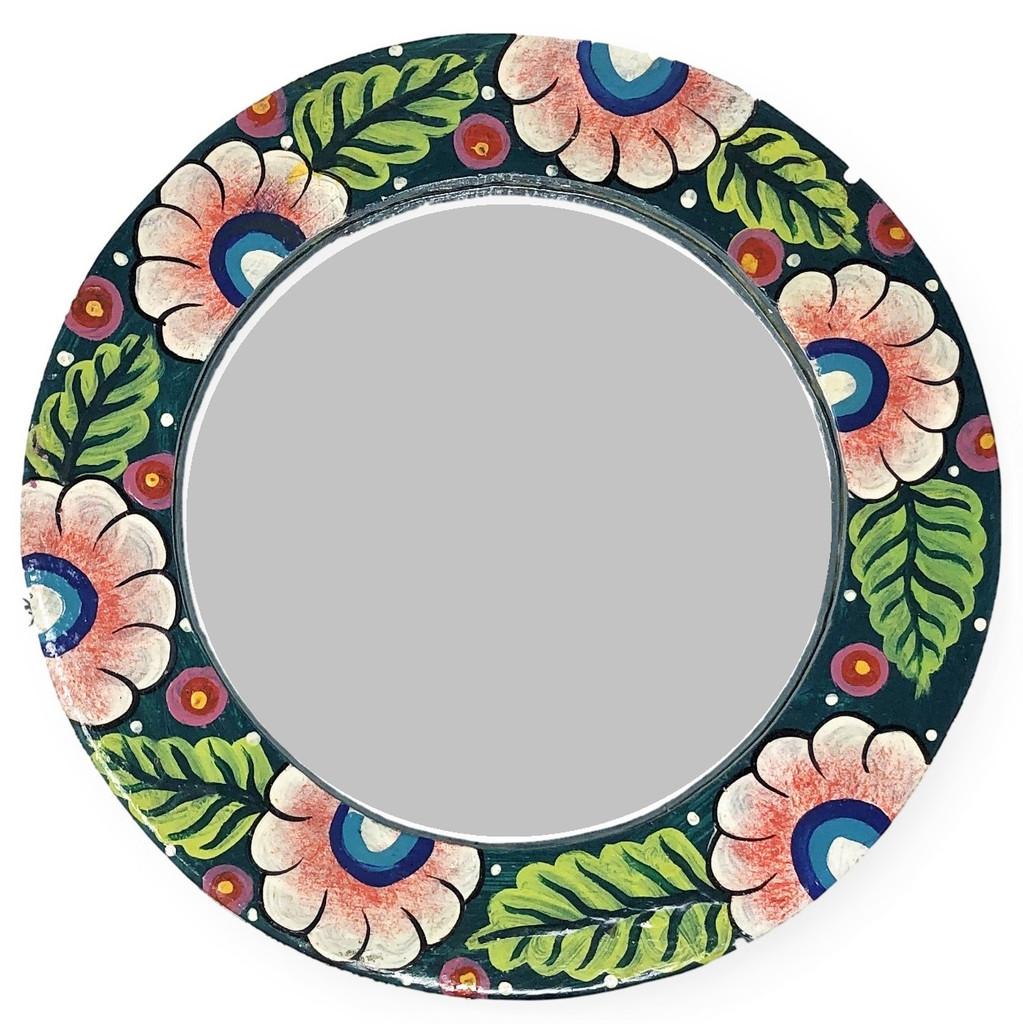wooden floral mirror