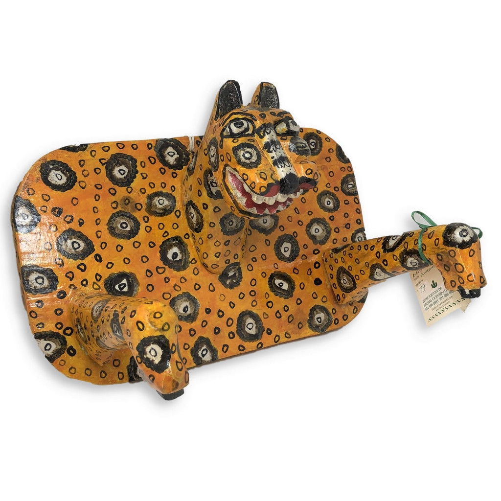 hand carved leopard wall art