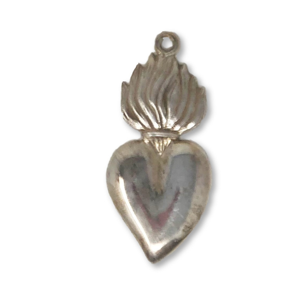 Pewter , German, Milagro Heart , Sacred , Flaming Catholic