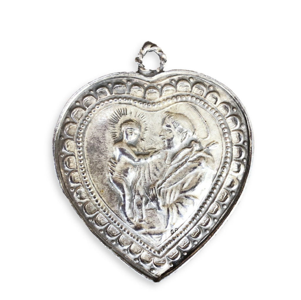 Pewter , German, Milagro Heart , Sacred , Flaming Catholic