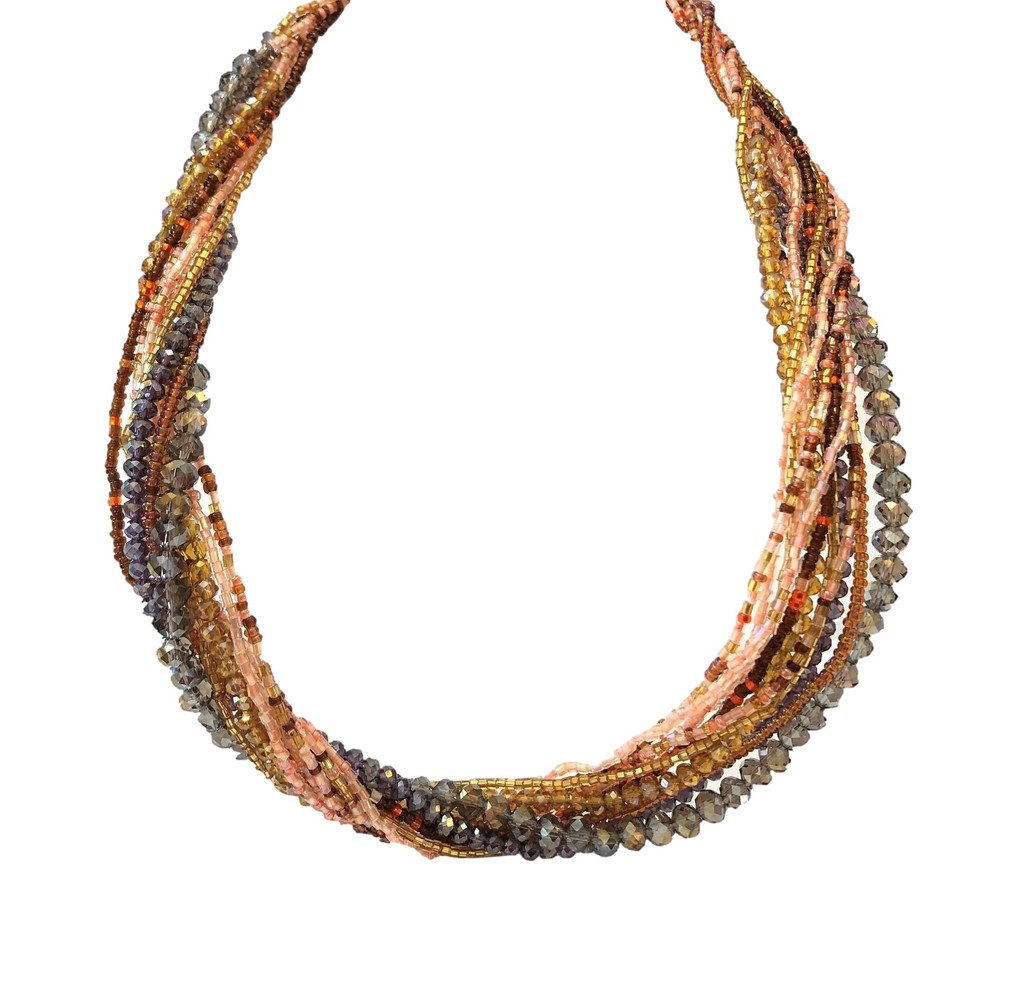 Mayan Arts Multi Strand Beaded Necklace, Multi Color, Gold Tones, Sparkly Beads, Women Necklaces, Jewelry, Magnetic Clasps, 19.5 Inches Long