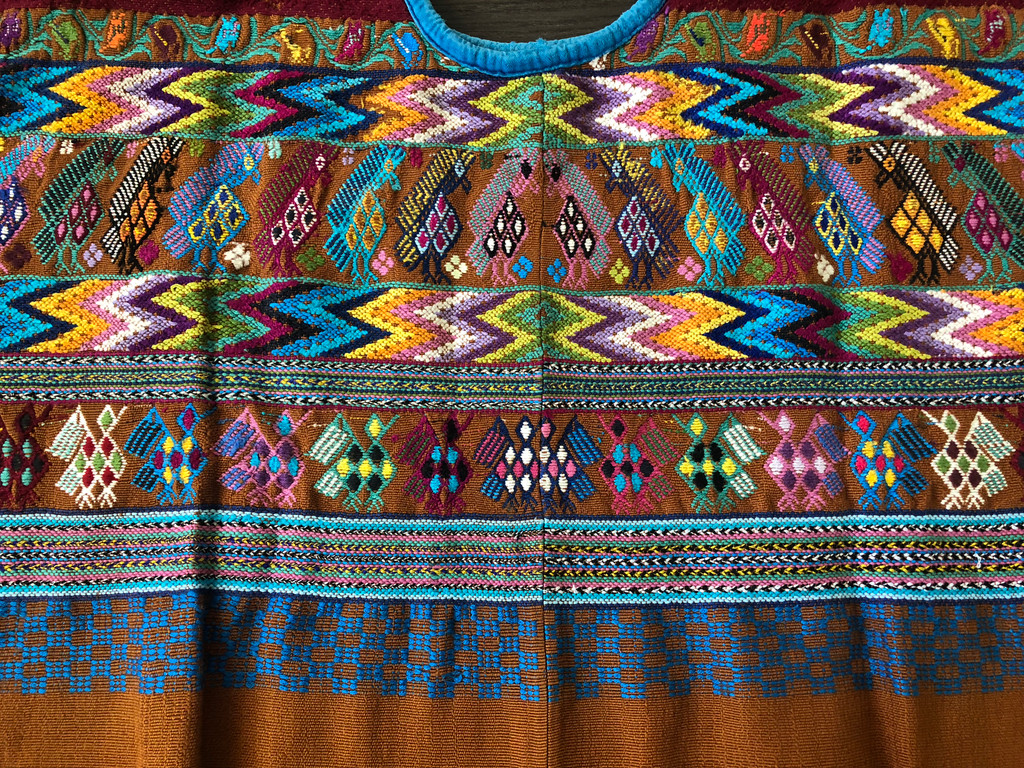 Authentic Handmade Mayan Guatemalan Embroidered Huipil from San Juan Comalapa, Brown and Blue Vintage Textile
