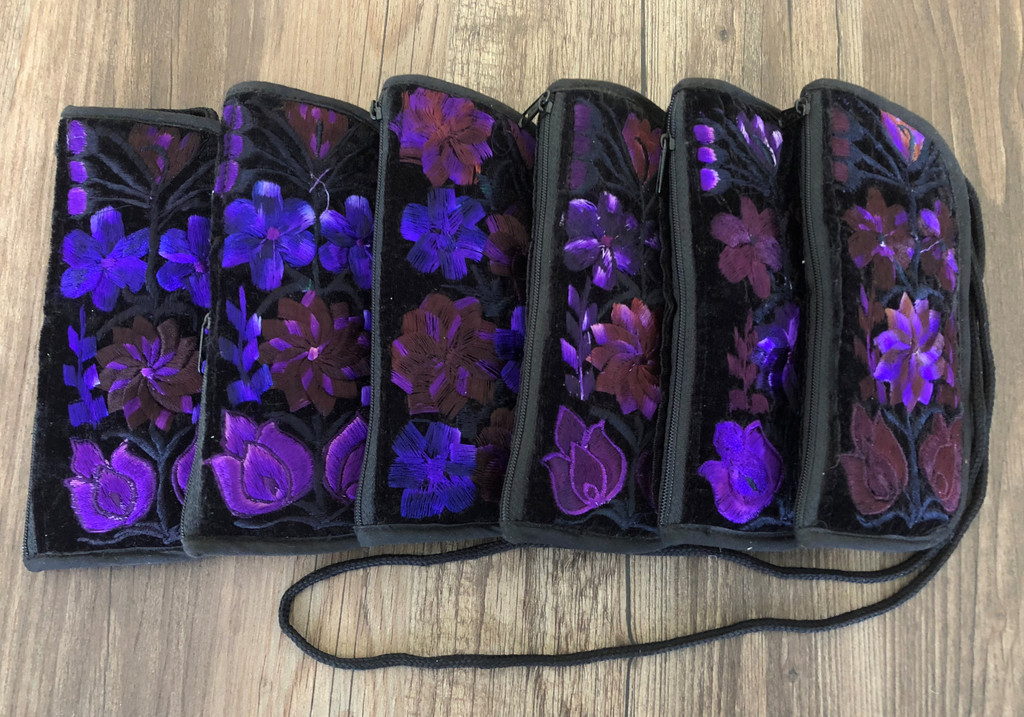 Soft Padded Eyeglasses Pouch Holder Case with Zipper Pocket and Strap,Hand Embroidered Flowers, Purple