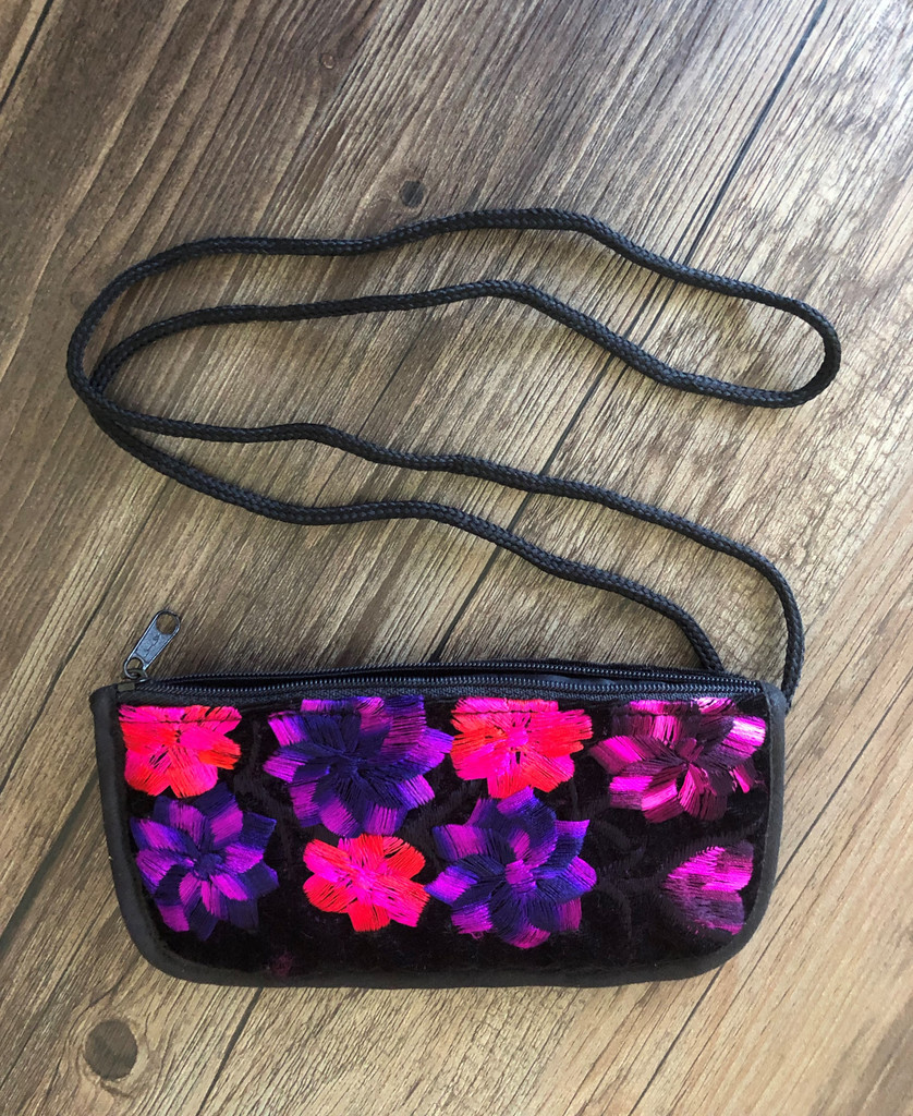Soft Padded Eyeglasses Pouch Holder Case with Zipper Pocket and Strap,Hand Embroidered Flowers, Pink