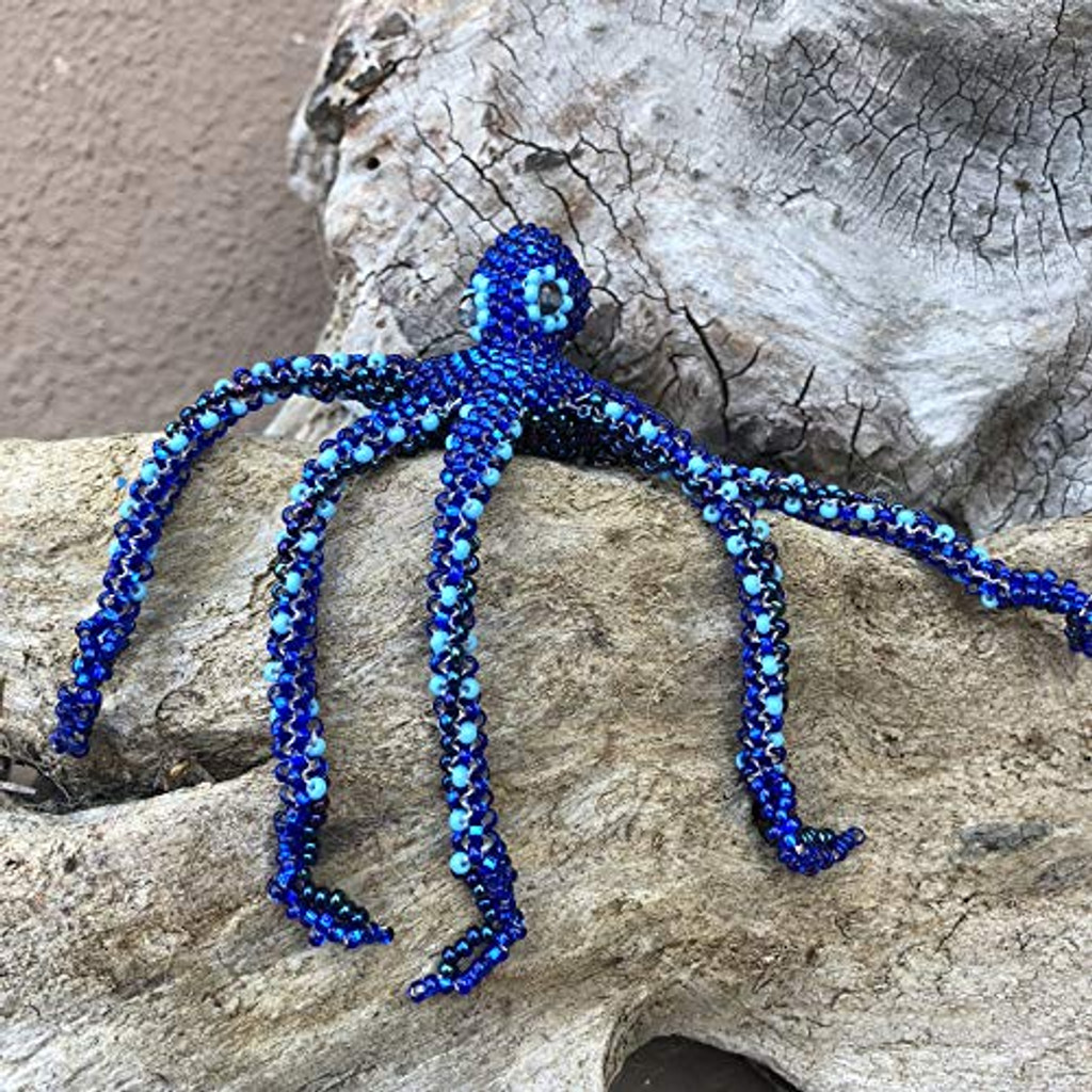 Nautical Christmas Ornament, Beaded Octopus, Jewelry, Hand Strung Seed Beads, Pin Attached, Brooch, Ornament, Christmas Tree, Handmade in Guatemala 6 x 6 x 1 Inches
