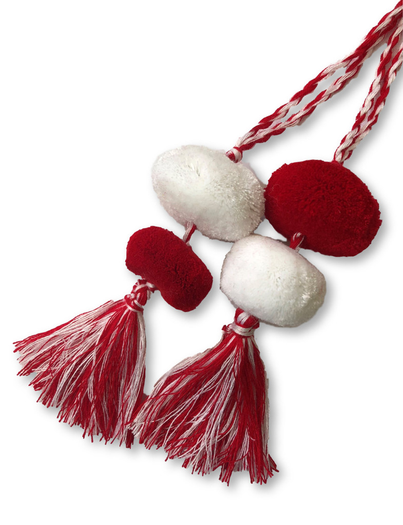 Tassels with Pom Poms, Red and White
