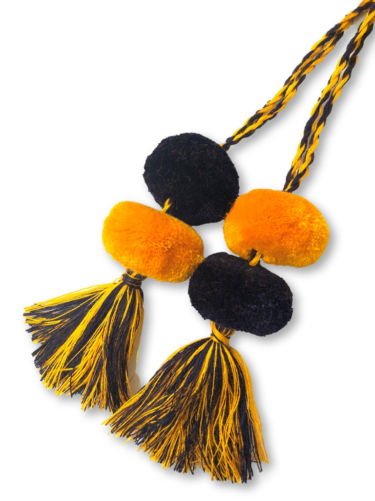 Tassels with Pom Poms, Gold and Navy, Team School Colors, Home Decor, Gift Tag, Decorative Small Handmade Pom Poms, Fair Trade Guatemala